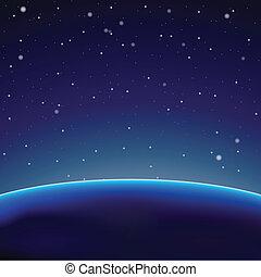 惑星, 暗い背景, (vector), スペース