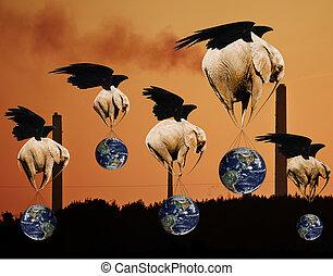 惑星, 概念, セービング, 象, 産業, 飛行, 創造的, 環境, 地球, 汚染