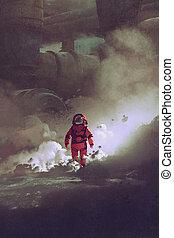 惑星, 歩くこと, によって, 宇宙飛行士, 煙