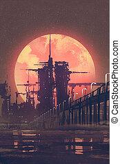 惑星, 背景, 都市, 赤, 未来派