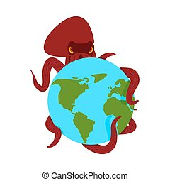 惑星, earth., タコ, モンスター, poulpe