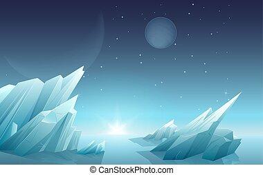 惑星, panorama., もう1(つ・人), スペース, sky., 氷, 外国人, 風景, 岩, 銀河, 星, 惑星, 自然, 日の出