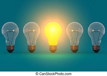 想法, 概念, 發光, 燈泡, 上, 藍綠色, 背景
