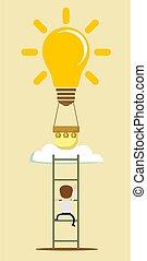 想法, balloon, ladder.