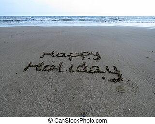 愉快, 假期, 寫, 在, 沙子