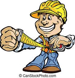 愉快, 做零活的人, 承包商, 站立, 卡通, 矢量, 圖像