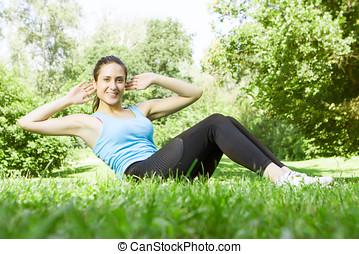 愉快, 健身, 女孩, 做, 練習