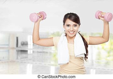 愉快, 健身, 婦女, 測驗, 由于, dumbbells