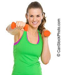 愉快, 健身, 年輕婦女, 測驗, 由于, dumbbells