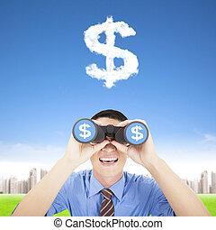 愉快, 商人, 藏品, 雙筒望遠鏡, 以及, 觀看, the, 錢, 雲