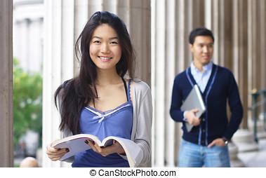 愉快, 大學, 學生, 由于, 專欄, 在, the, 背景