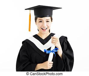 愉快, 女性, 畢業生, 學生, 藏品, 畢業証書