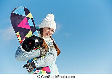 愉快, 女運動員, 由于, snowboard