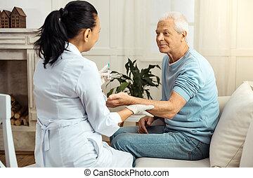 愉快, 好, 護士, 藏品, 她, 病人, 手