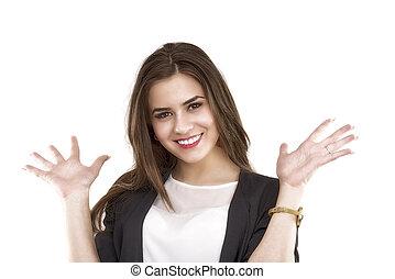 愉快, 婦女, 她, 事務, 空間, 顯示, 年輕, 棕櫚, 模仿,  Isola
