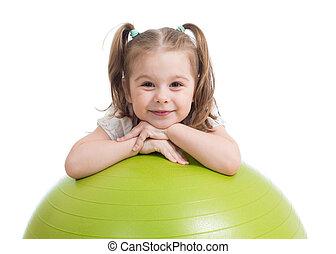 愉快, 嬉戲, 孩子, 玩, 由于, 健身 球, 被隔离, 在懷特上, 背景