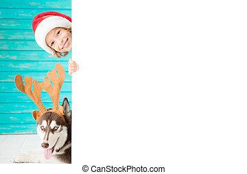 愉快, 孩子, 以及, 狗, 上, 圣誕夜