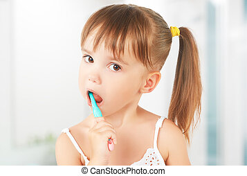 愉快, 小女孩, 刷, 她, 牙齒