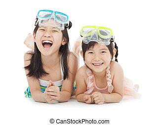 愉快, 小女孩, 由于, 游泳衣