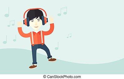 愉快, 年輕人, 跳舞, 當時, 听, 到, music.