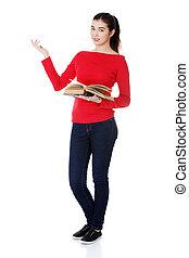 愉快, 年輕婦女, (student, 或者, teacher), 由于, 書