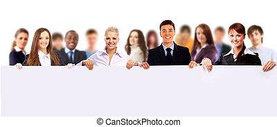 愉快, 年輕, 人們的組, 站立, 一起, 以及, 藏品, a, 空白徵候, 為, 你, 正文