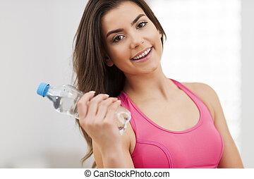 愉快, 年輕, 健身, 婦女藏品, 水瓶子