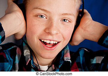 愉快, 年輕, 青少年男孩, 穿, 頭戴收話器