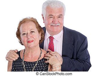 愉快, 年長者, 丈夫和妻子, 扣留手