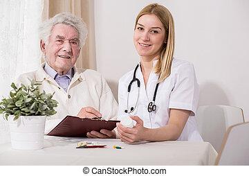 愉快, 年長, 病人