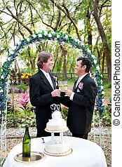 愉快, 快樂的夫婦, 得到, 結婚