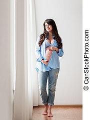 愉快, 怀孕的婦女, 由于, 大, 肚子, 在家