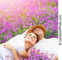 愉快, 情人, 上, 淡紫色, 林間空地