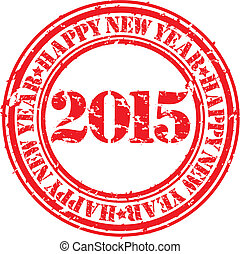 愉快, 新, 2015, 年, grunge, 刻板文章, 矢量, 插圖