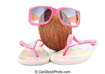 愉快, 椰子, 概念, 為, 旅行社, 由于, 太陽鏡, 以及, beachwear, 被隔离, 在懷特上, 背景