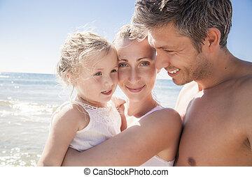愉快, 海灘, 夏天, 跟孩子一起