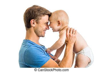 愉快, 父親, 以及, 嬰孩儿子, 在, 他的, 手, 玩得高興, 消遣, isolat