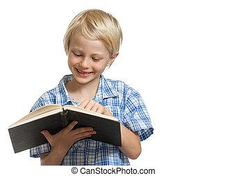 愉快, 男孩讀, a, 書