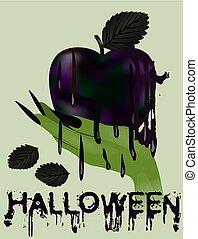 愉快, 矢量, 蘋果, banner., 毒害, 插圖, halloween 巫婆