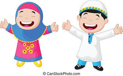 愉快, 穆斯林, 孩子, 卡通