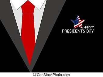 愉快, 總統 天, 設計, ......的, 紅色, 領帶, 矢量, 插圖
