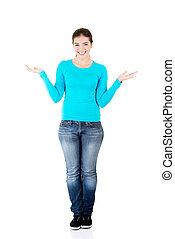 愉快, 興奮, 年輕婦女, 提出, 模仿空間, 上, 她, 棕櫚