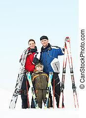 愉快, 運動, 家庭, 在, 冬天