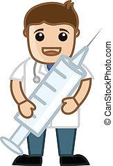 愉快, 醫生, 容納一個注射器