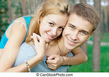 愉快, 青少年的 夫婦, 在, the, 公園