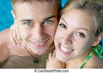 愉快, 青少年的 夫婦, 在, the, 池