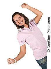 愉快, 青少年的 女孩, 由于, 舉起手來