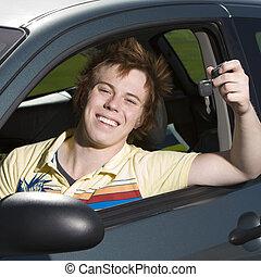 愉快, 青少年, 在汽車中