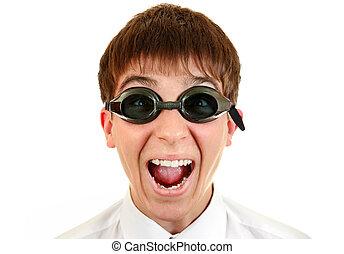愉快, 青少年, 在, 游泳, 眼鏡