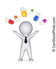 愉快, 3d, 人, 以及, 鮮艷, pills.